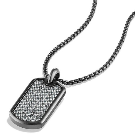 Designer Inspired Pendant Necklace // Silver on Dark Tag