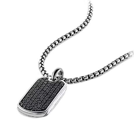 Designer Inspired Pendant Necklace // Black on Silver Tag