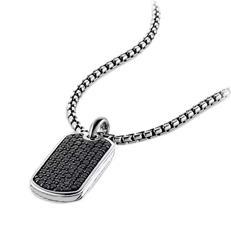 Designer Inspired Pendant Necklace // Black on Silver Tag