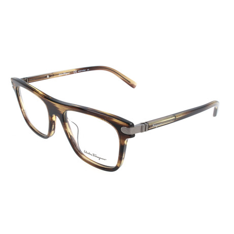 Salvatore Ferragamo // Men's Owen Optical Frames // Striped Brown