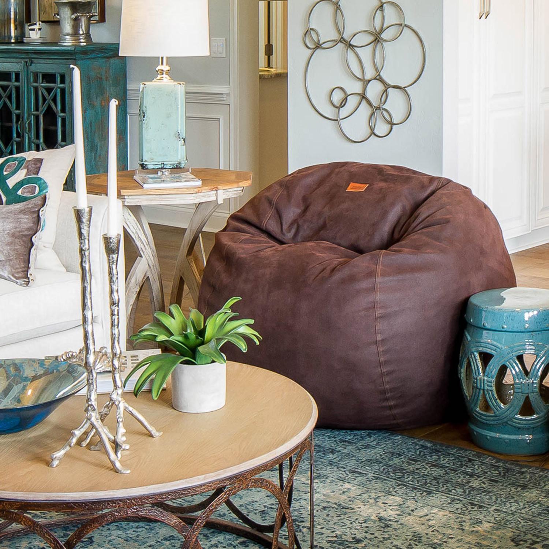 Convertible Bean Bag Chair Cowhide Coffee Full