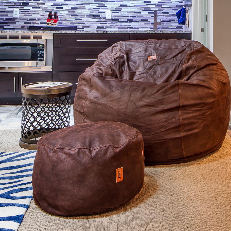 Convertible Bean Bag Chair Cowhide Coffee Queen