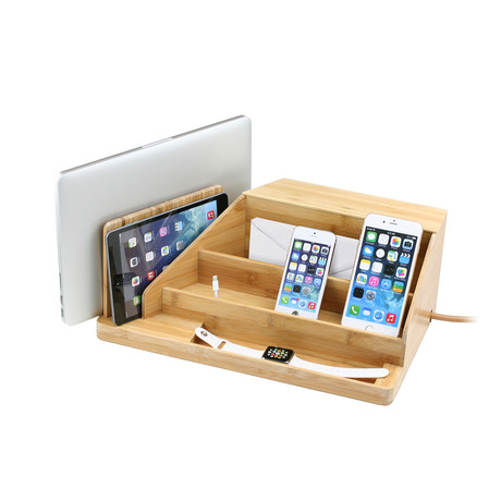 All-In-One Multi Charging Station + Organizer (Eco Friendly Bamboo)