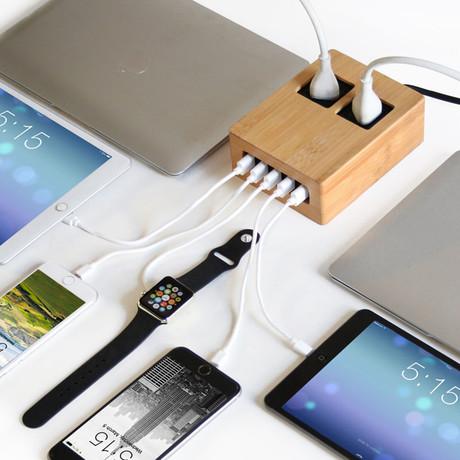 USB + AC Power Hub // 5 USB + 2 AC Outlets (Eco Friendly Bamboo)