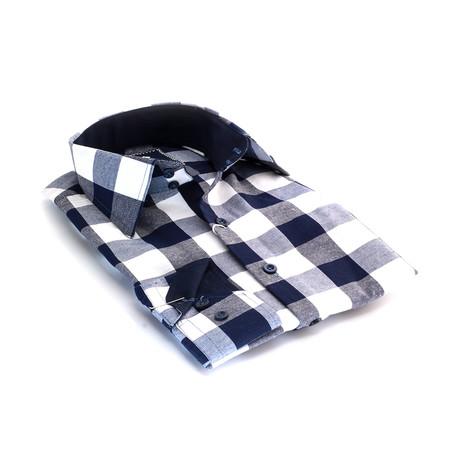 Reversible Cuff Button-Down Shirt // White + Indigo Blue
