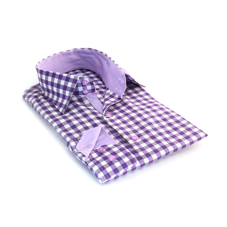 Reversible Cuff Button-Down Shirt // Purple + White Squares (S)
