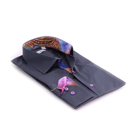 Reversible Cuff Button-Down Shirt // Gray + Rainbow Paisley