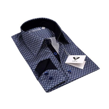 Reversible Cuff Button-Down Shirt // Blue + White Checkers