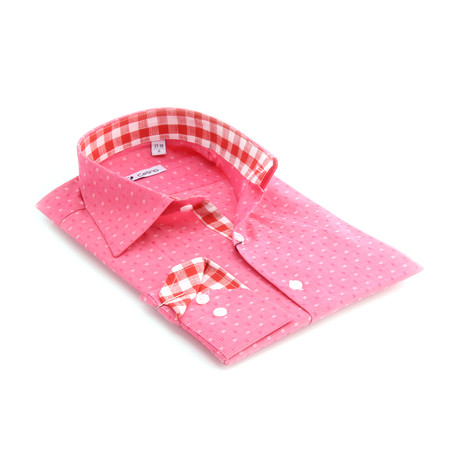 Reversible Cuff Button-Down Shirt // Pink + Red + White Squares