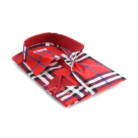 Reversible Cuff Button-Down Shirt // Red + Black Striped