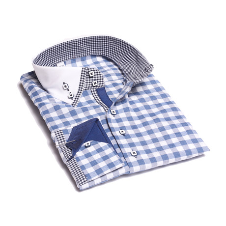 Reversible Cuff Button-Down Shirt // Blue + White Checkered