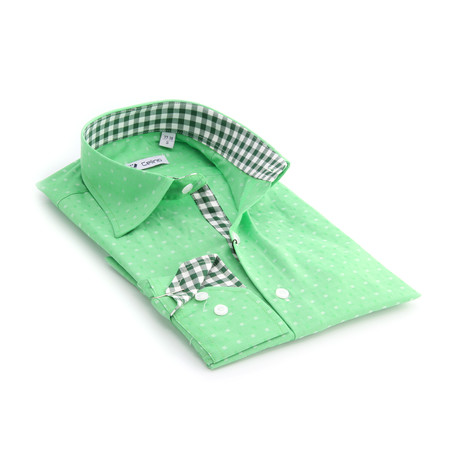 Reversible Cuff Button-Down Shirt // Green + White Squares