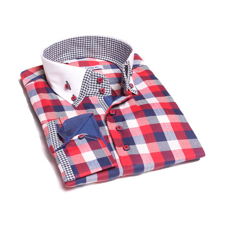 Reversible Cuff Button-Down Shirt // Red + White + Blue Checkered