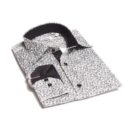 Reversible Cuff Button-Down Shirt // White + Dark Gray Paisley