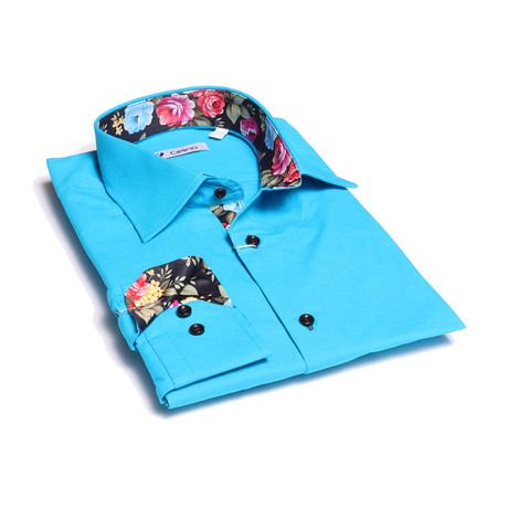 Reversible Cuff Button-Down Shirt // Turquoise Blue + Floral (XL)