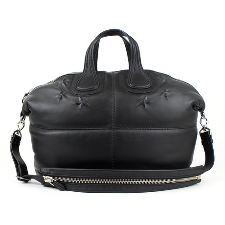 Large Nightingale Embossed Star Tote Bag // Black