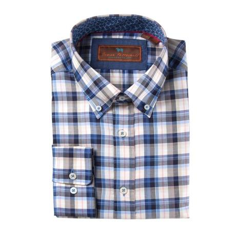 Woven Button Down Shirt // Blue + White + Orange Plaid (XS)