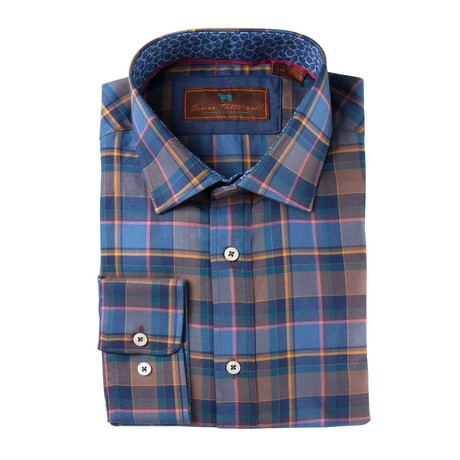 Woven Spread Collar Shirt // Brown + Blue Plaid (XS)