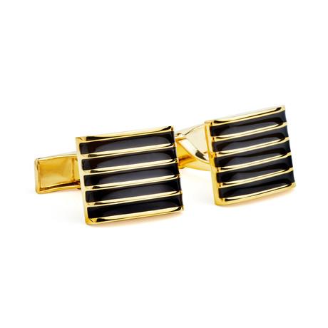 Gold-Plated Cufflinks + Enamel Details