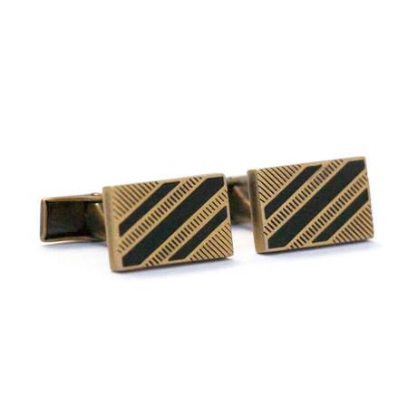 Antique-Plated Cufflinks + Black Enamel