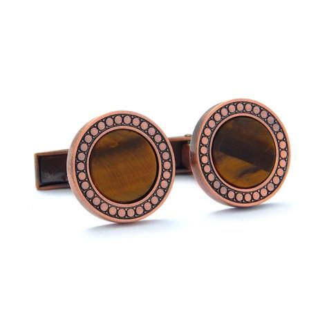 Rose Gold-Plated Cufflinks + Tiger Eye Stone