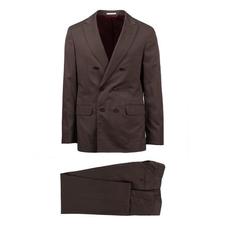 Anzio Herringbone Wool Blend Double Breasted Suit // Brown