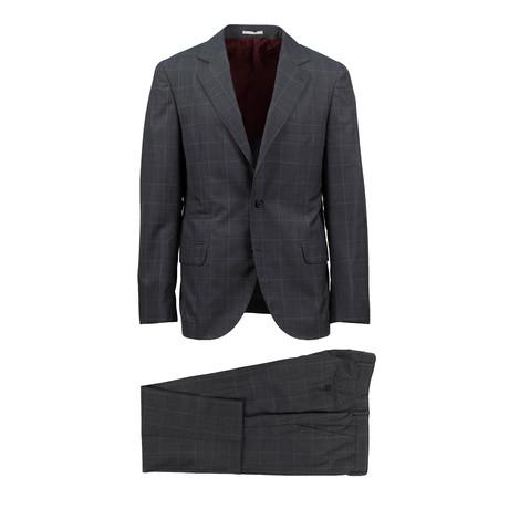Scandicci Windowpane Wool Blend Suit // Gray