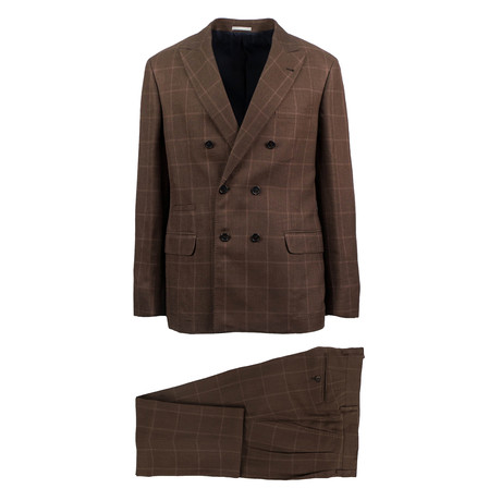 Sanremo Windowpane Wool Blend Double Breasted Suit // Brown (Euro: 44)