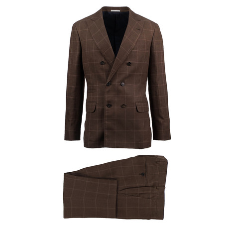 Modica Windowpane Wool Blend Double Breasted Suit // Brown (Euro: 46)