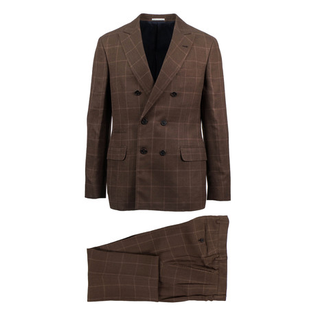 Portici Windowpane Wool Blend Double Breasted Suit // Brown (Euro: 46)