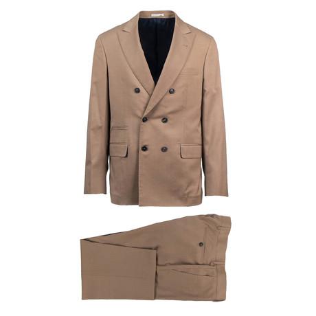Bitonto Herringbone Wool Blend Double Breasted Suit // Brown (Euro: 44)