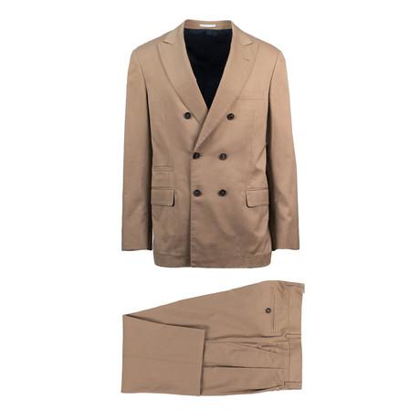 Carrara Herringbone Wool Blend Double Breasted Suit // Brown (Euro: 44)