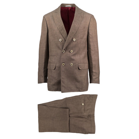 Teramo Birdseye Wool Blend Double Breasted Suit // Brown (Euro: 44)