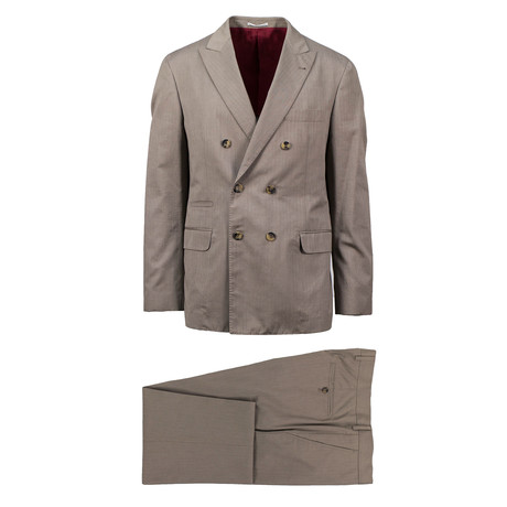 Foligno Herringbone Cotton Double Breasted Suit // Brown (Euro: 46)