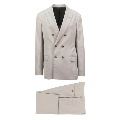 Imola Cotton Blend Double Breasted Suit // Beige (Euro: 44)