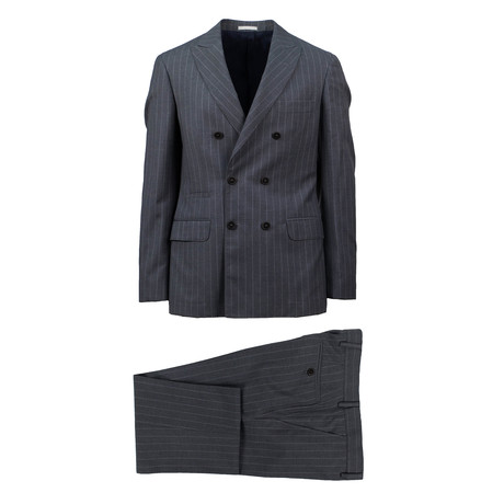 Scafati Striped Wool Double Breasted Suit // Gray (Euro: 48)