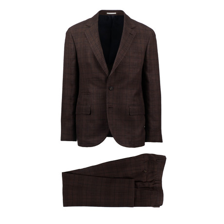 Ercolano Plaid Wool Blend Suit // Brown (Euro: 44)