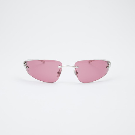 Unisex Panther Sunglasses // Shiny Silver + Burgundy
