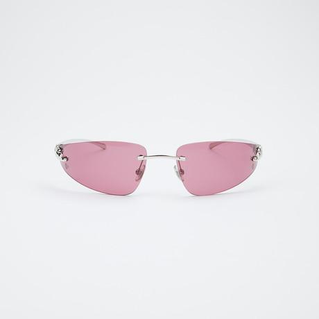 T8200632 Sunglasses // Shiny Silver + Burgundy