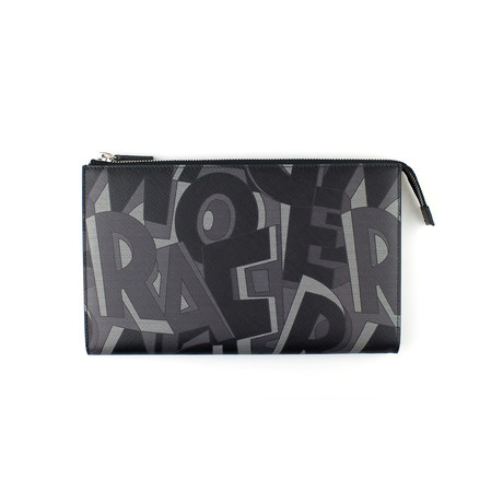 Printed Calfskin Pouch // Black + Grey // Large