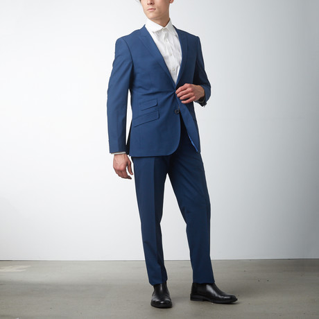 Slim Fit Peak Lapel Suit // True Blue