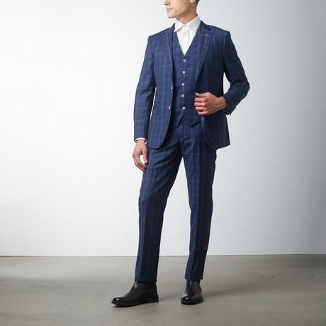 Slim Fit 3-Piece Suit // Blue Check (US: 40R)
