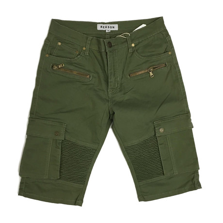 Trenton Cargo Moto Shorts // Green