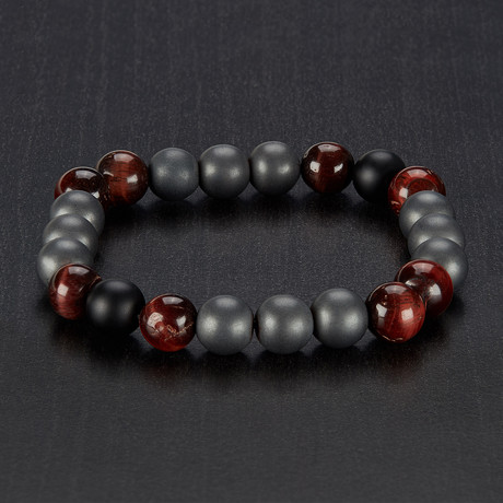 Natural Stone // Red Tiger Eye, Hematite + Onyx