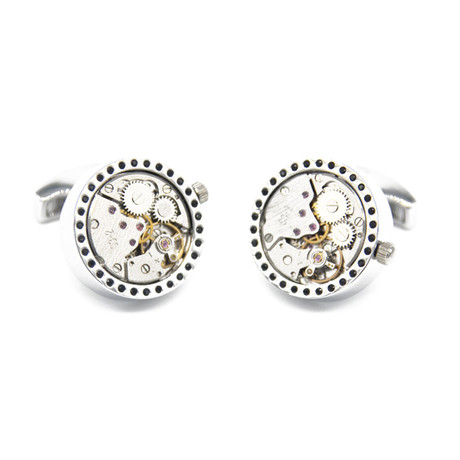 L'Heure Watch Cufflinks // Silver + Gold
