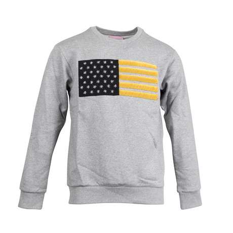 USA Flag Embroidered Crewneck Sweatshirt // Grey
