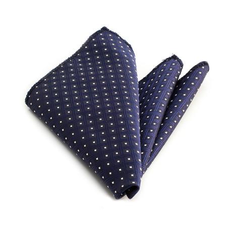 Square Pattern Silk Handkerchief + Gift Box // Blue + White