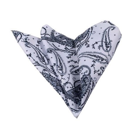 Paisley Silk Handkerchief + Gift Box // White + Navy + Blue
