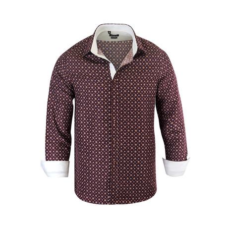 Christopher Modern Fit Long-Sleeve Dress Shirt // Burgundy