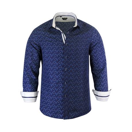 Gerald Modern Fit Long-Sleeve Dress Shirt // Navy